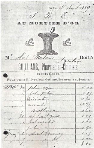 Apothekersvoorschrift uit 1889